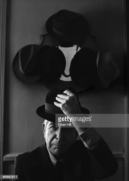 Singer Leonard Cohen poses at a portrait session at his home in Los Angeles for Rolling Stone Magazine PUBLISHED IMAGE