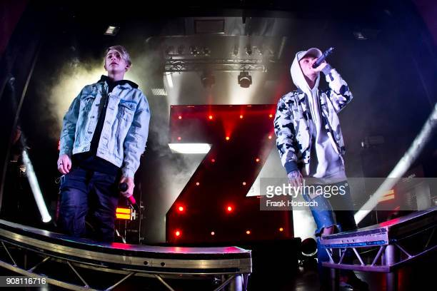 Singer Leondre Devries and Charlie Lenehan of the British band Bars and Melody perform live on stage during a concert at the Columbia Theater on...