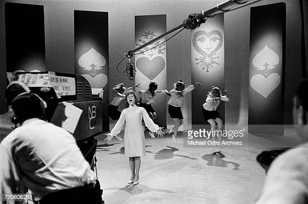 Singer Lesley Gore belts out a note on 'Hullabaloo' at NBC's Studio 8H on March 2 in New York New York