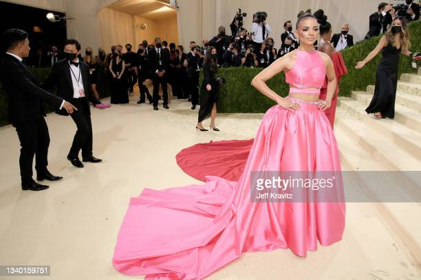 Singer Leslie Grace attends The 2021 Met Gala Celebrating In America: A Lexicon Of Fashion at Metropolitan Museum of Art on September 13, 2021 in New...