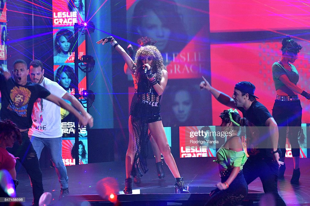 Singer Leslie Grace performs onstage at the Univision's 13th Edition Of Premios Juventud Youth Awards at Bank United Center on July 14, 2016 in Miami, Florida.