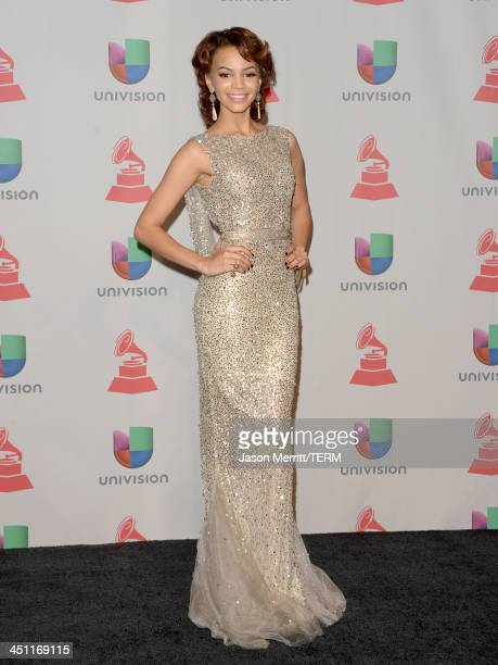 Singer Leslie Grace poses in the press room at the 14th Annual Latin GRAMMY Awards held at the Mandalay Bay Events Center on November 21, 2013 in Las...