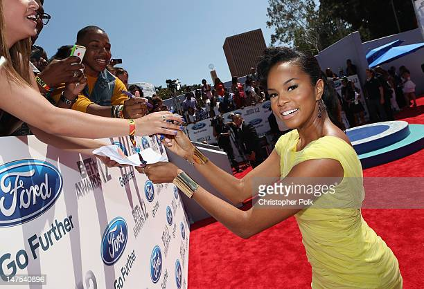 Singer Letoya Luckett arrives at the 2012 BET Awards at The Shrine Auditorium on July 1 2012 in Los Angeles California