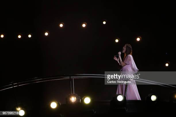 Singer Leva Zamimauskaite representing Lithuania performs during the second Grand Final Dress Rehearsal of Eurovision Song Contest 2018 in Altice...