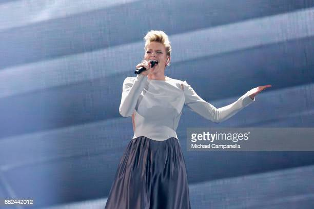 Singer Levina, representing Germany, performs the song 'Perfect Life' during the rehearsal for ''The final of this year's Eurovision Song Contest''...