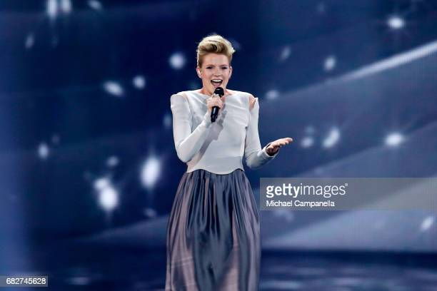 Singer Levina, representing Germany, performs the song 'Perfect Life' during the final of the 62nd Eurovision Song Contest at International...