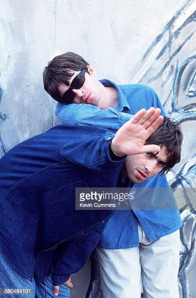 Singer Liam Gallagher and his guitarist brother Noel Gallagher of Manchester rock band Oasis 2nd August 1994