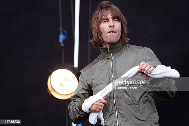Singer Liam Gallagher of Beady Eye performs on stage during the first day of Heineken Jammin Festival at Parco San Giuliano on June 9 2011 in Mestre...