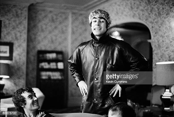 Singer Liam Gallagher of British rock group Oasis in a shower cap Newport Gwent 5th May 1994