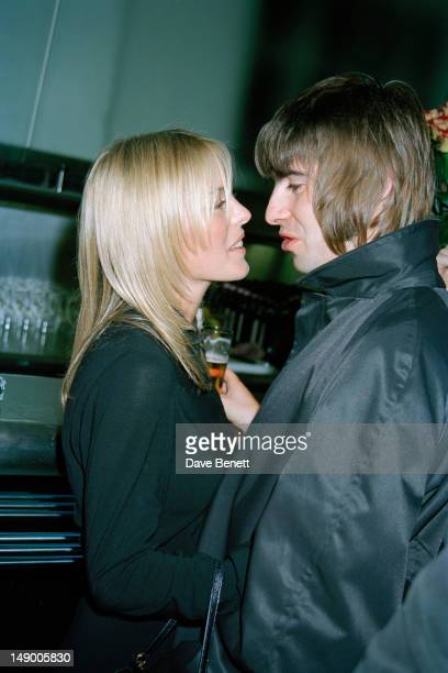 Singer Liam Gallagher of Oasis with his wife Patsy Kensit at a party given by Vanity Fair magazine at the River Cafe Hammersmith London 20th November...