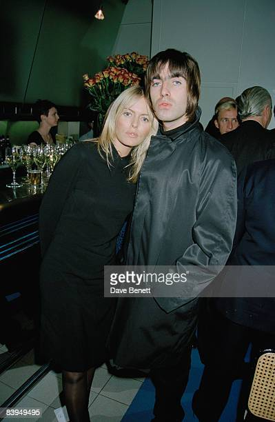 Singer Liam Gallagher of rock group Oasis with his girlfriend actress Patsy Kensit at a Vanity Fair party at the River Cafe London 20th November 1996