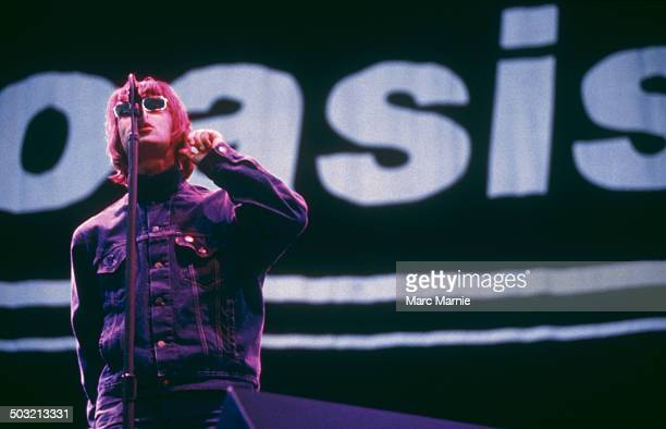 Singer Liam Gallagher performing with British rock band Oasis, UK, August 1996.