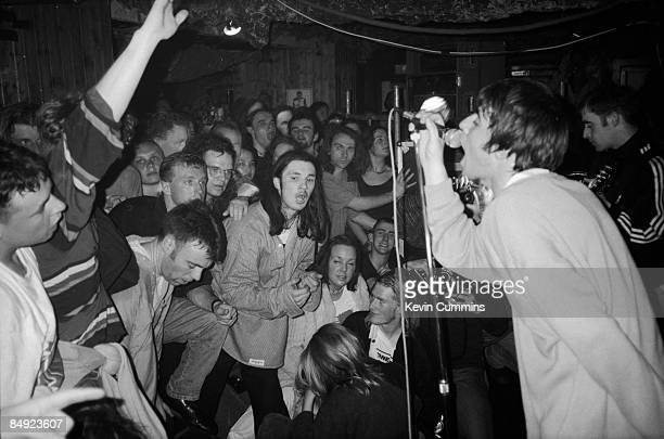 Singer Liam Gallagher performing with British rock group Oasis in Portsmouth 2nd May 1994