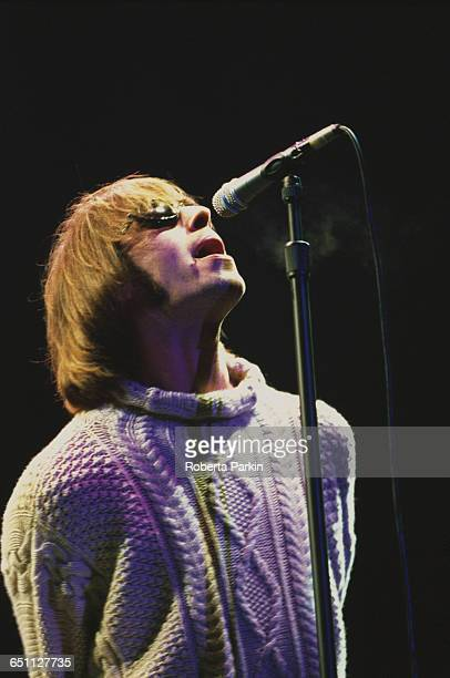 Singer Liam Gallagher performing with Oasis on one of two nights at Knebworth House Hertfordshire 10th11th August 1996