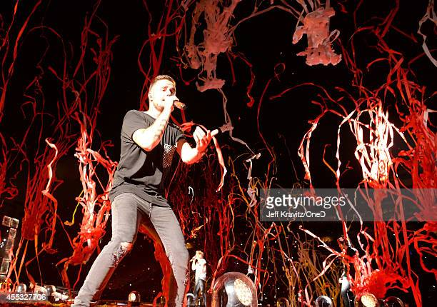 Singer Liam Payne of One Direction performs onstage during the One Direction Where We Are Tour at Rose Bowl on September 11 2014 in Pasadena...