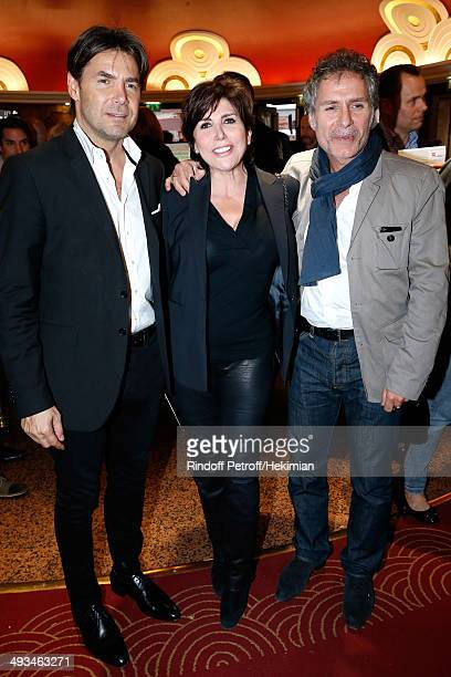 Singer Liane Foly with her husband David Rigaut and actor Laurent Olmedo attend the 'Bigard Fete Ses 60 Ans' One Man Show at Le Grand Rex on May 23...