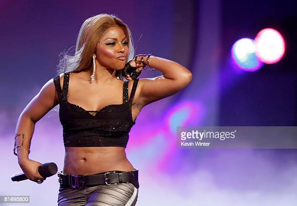 Singer Lil' Kim performs onstage during the 2008 BET Awards held at the Shrine Auditorium on June 24 2008 in Los Angeles California