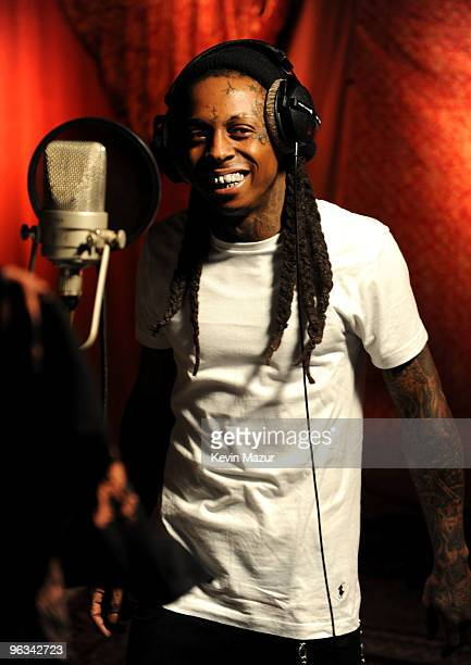 COVERAGE* Singer Lil Wayne performs at the 'We Are The World 25 Years for Haiti' recording session held at Jim Henson Studios on February 1 2010 in...