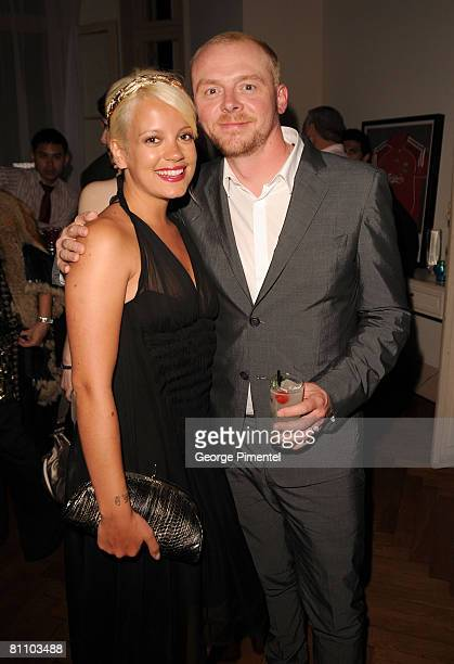 Singer Lily Allen and actor Simon Pegg attend the AKVINTA GQ Party for How to Lose Friends Alienate People Premiere at the Festival House Villa...