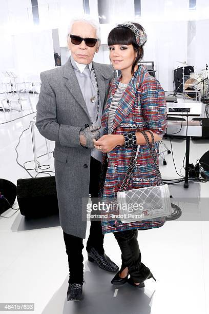 Singer Lily Allen and Fashion designer Karl Lagerfeld pose backstage after the Chanel show as part of Paris Fashion Week Haute Couture Spring/Summer...