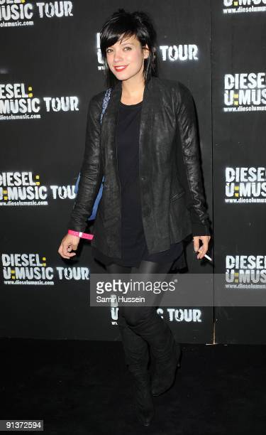 Singer Lily Allen arrives at the DieselUMusic World Tour Party held at the University of Westminster on October 1 2009 in London England