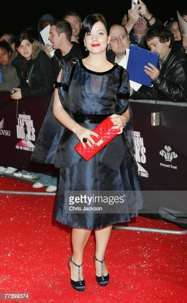 Singer Lily Allen arrives at the Swarovski Fashion Rocks concert at the Royal Albert Hall on October 18 2007 in London England