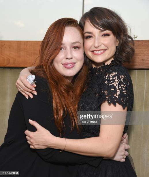 Singer Lily Kershaw and actress Milana Vayntrub arrive to Resist Insist Persist benefit concert for Onward Together at Rockwell Table Stage on July...