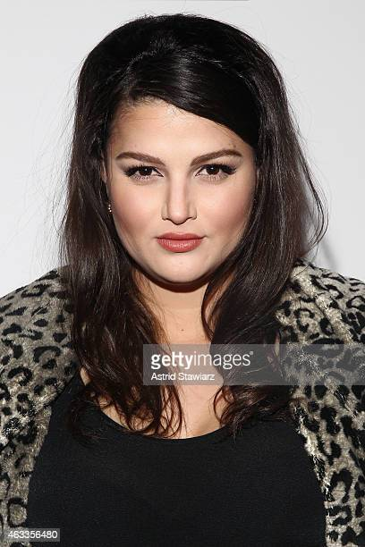 Singer Lily Lane poses backstage at the Mongol fashion show during Mercedes-Benz Fashion Week Fall 2015 at The Theatre at Lincoln Center on February...