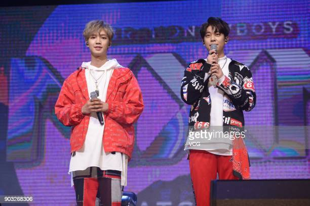 Singer Lim Young Min and singer Kim Jonghyun of boy group MXM perform during the release ceremony of their mini album 'Match Up' on January 10 2018...