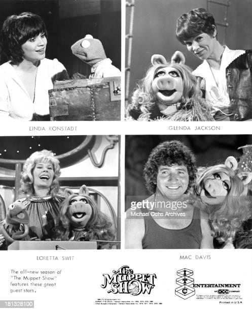 Singer Linda Ronstadt with Kermit the Frog Actress Glenda Jackson with Miss Piggy Actress Loretta Swit and Miss Piggy Singer Mac Davis and Miss Piggy...