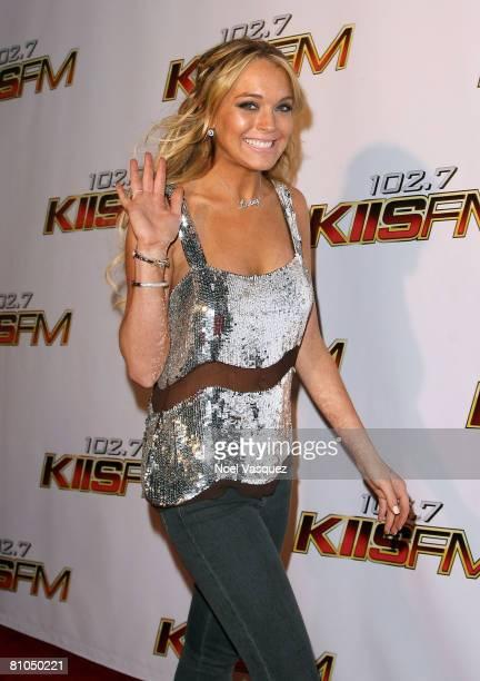 Singer Lindsay Lohan arrives at the KIISFM's 2008 Wango Tango concert held at the Verizon Wireless Amphitheater on May 10 2008 in Irvine California