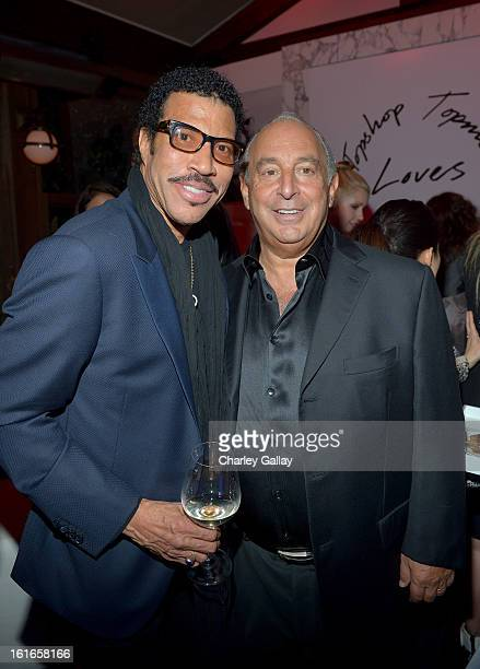 Singer Lionel Richie and proprietor Sir Philip Green attend the Topshop Topman LA Opening Party at Cecconi's West Hollywood on February 13 2013 in...