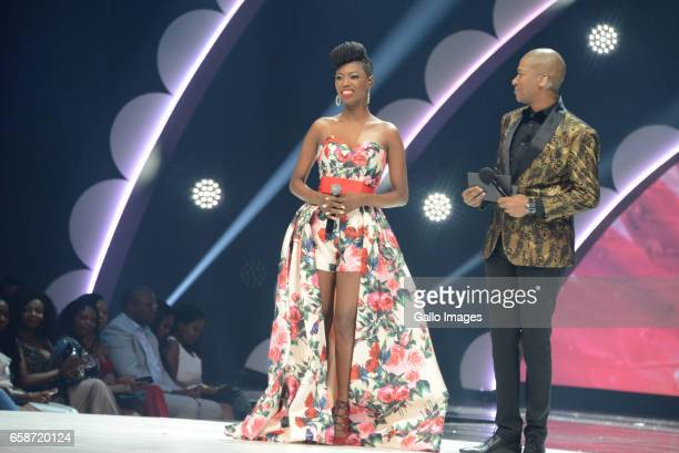Singer Lira and Proverb during the crowning of Miss SA 2017 beauty pageant at Sun City Superbowl on March 26 2017 in Rustenburg South Africa South...