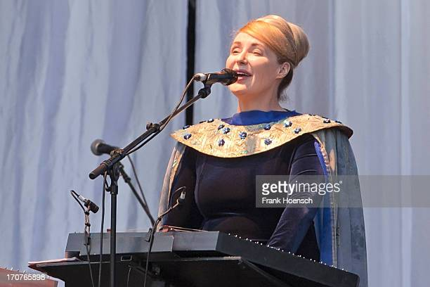 Singer Lisa Gerrard of Dead Can Dance performs live during a concert at the Zitadelle Spandau on June 17, 2013 in Berlin, Germany.