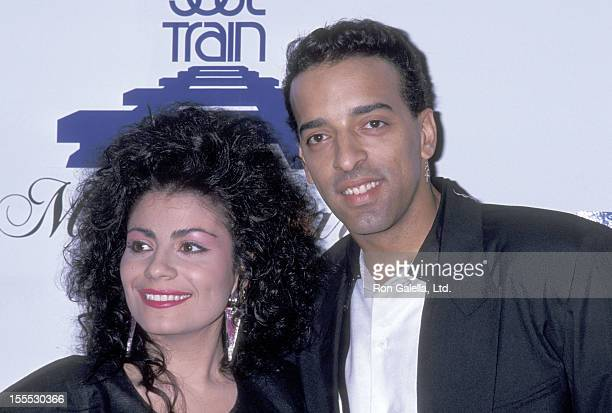 Singer Lisa Lisa and musician Alex Spanador Moseley attend the Third Annual Soul Train Music Awards on April 12 1989 at Shrine Auditorium in Los...