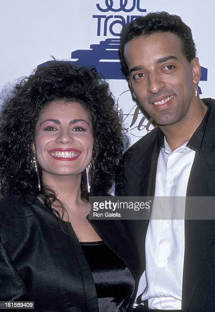 Singer Lisa Lisa and musician Alex 'Spanador' Moseley attend the Third Annual Soul Train Music Awards on April 12 1989 at Shrine Auditorium in Los...