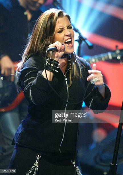 Singer Lisa Marie Presley appears on The Tonight Show with Jay Leno at the NBC Studios on May 1 2003 in Burbank California