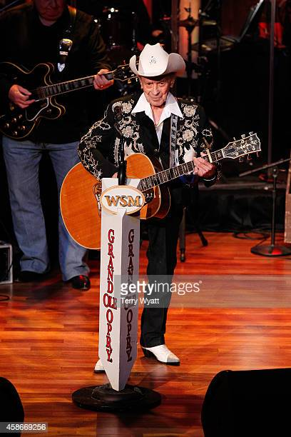 Singer 'Little' Jimmy Dickens performs at The Grand Ole Opry at Ryman Auditorium on November 8, 2014 in Nashville, Tennessee.