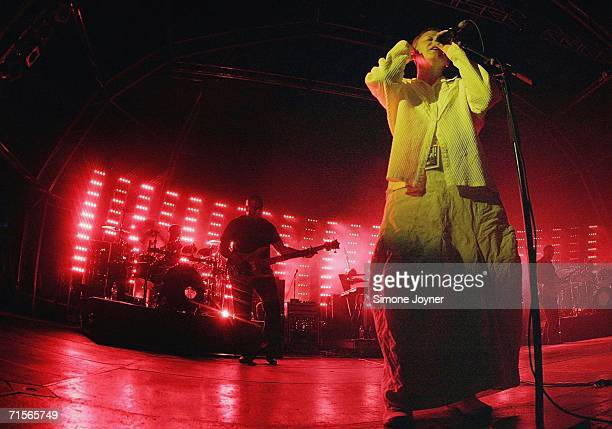 Singer Liz Frazer performs live on stage with Massive Attack at Westonbirt Arboretum on July 30 2006 in Tetbury England