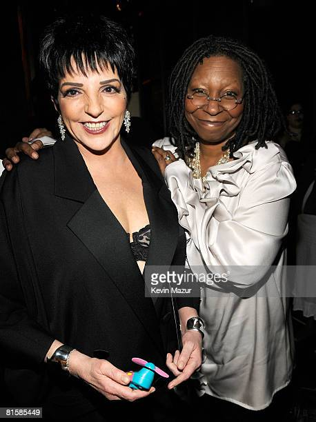 Singer Liza Minnelli and host Whoopi Goldberg pose backstage during the 62nd Annual Tony Awards at Radio City Music Hall on June 15 2008 in New York...