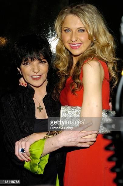 Singer Liza Minnelli and Nina Arianda attend the after party for the Born Yesterday Broadway opening night at The Edison Ballroom on April 24 2011 in...