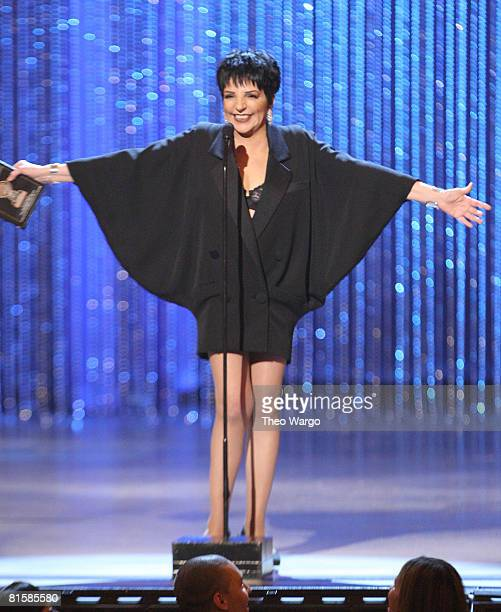 Singer Liza Minnelli speaks on stage during the 62nd Annual Tony Awards at Radio City Music Hall on June 15 2008 in New York City