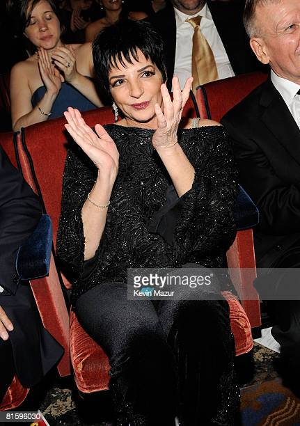 Singer Liza Minnelli watches from the audience during the 62nd Annual Tony Awards at Radio City Music Hall on June 15 2008 in New York City