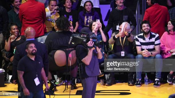 Singer Lizzo dances during a timeout of a basketball game between the Los Angeles Lakers and the Minnesota Timberwolves at Staples Center on December...
