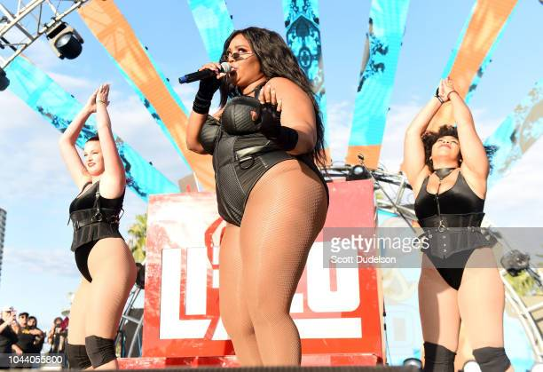 Singer Lizzo performs onstage during day 2 of Music Tastes Good Festival at Marina Green Park on September 30 2018 in Long Beach California
