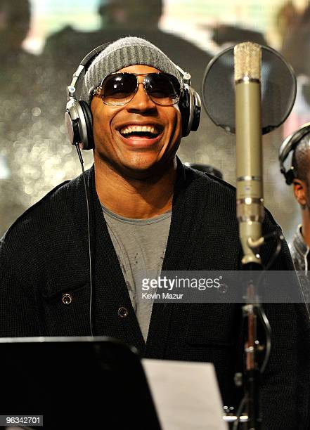 COVERAGE* Singer LL Cool J performs at the We Are The World 25 Years for Haiti recording session held at Jim Henson Studios on February 1 2010 in...