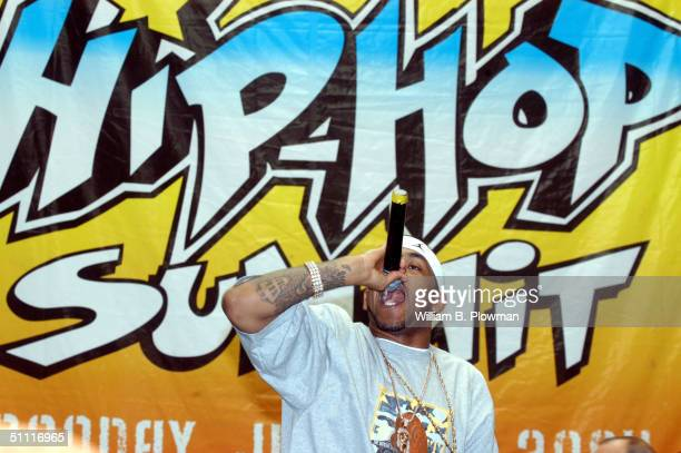 Singer Lloyd Banks, of the group G-Unit, performs during a Boston Hip-Hop Summit youth voter registration event at the Reggie Lewis Athletic Center...