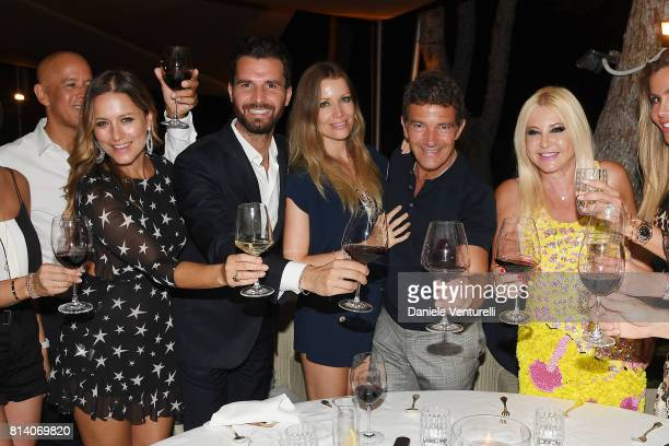 Singer Lola Ponce producer Andrea Iervolino Nicole Kempel Antonio Banderas and Lady Monika Bacardi attend AMBI Media Group Dinner during the 2017...