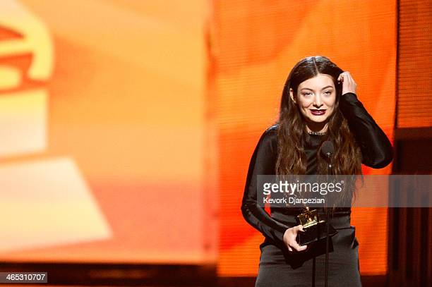 Singer Lorde accepts the Best Pop Solo Performance award for 'Royals' onstage during the 56th GRAMMY Awards at Staples Center on January 26 2014 in...