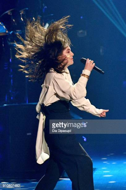 Singer Lorde performs onstage during MusiCares Person of the Year honoring Fleetwood Mac at Radio City Music Hall on January 26 2018 in New York City